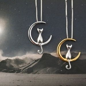 925 Silver Cat Moon Necklace